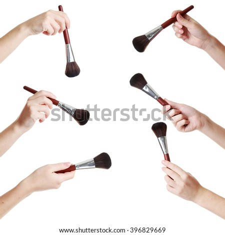 Female hand with brush for make-up isolated on white, collage - stock photo