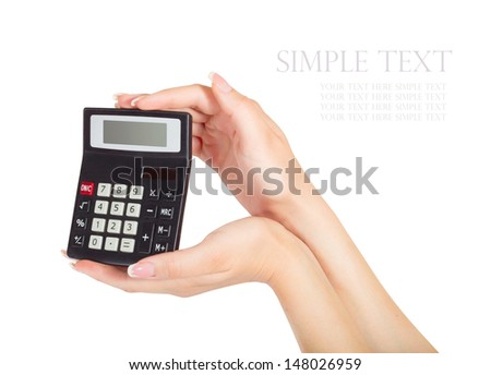 female hand with calculator isolated on white background