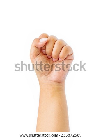 Female hand with clenched a fist, isolated on a white background