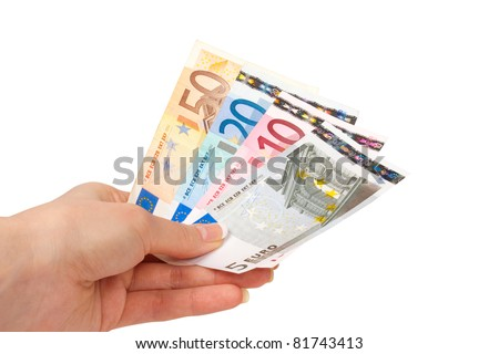 Female hand with euro money isolated on white background - stock photo