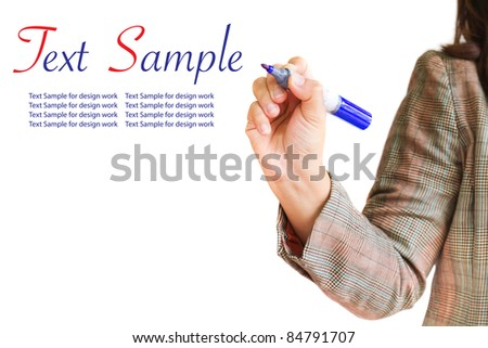 female hand with pen isolated on white background - stock photo