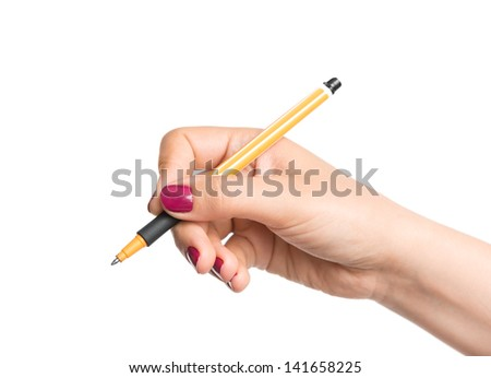 Female hand with pencil - stock photo