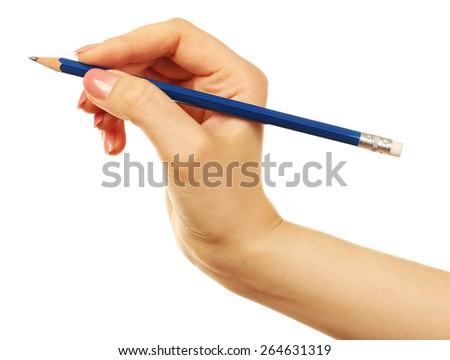 Female hand with pencil isolated on white - stock photo