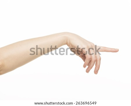 female hand with pointing finger, isolated on white