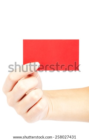 Female hand with red card isolated on white background. - stock photo
