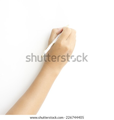 female hand writing on a white background