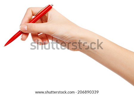 Female hand writing with a red pen - stock photo