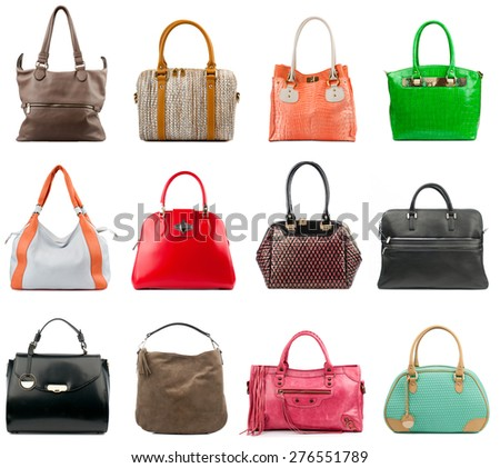 Female handbags collection isolated on white background. - stock photo