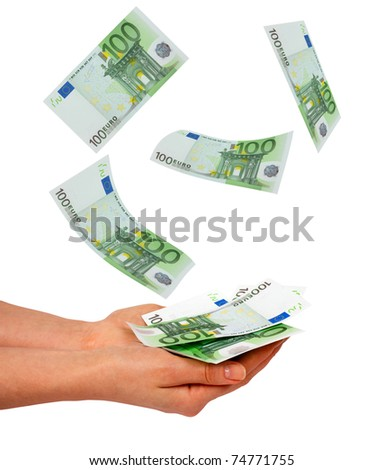 Female hands and falling euros isolated on white background - stock photo