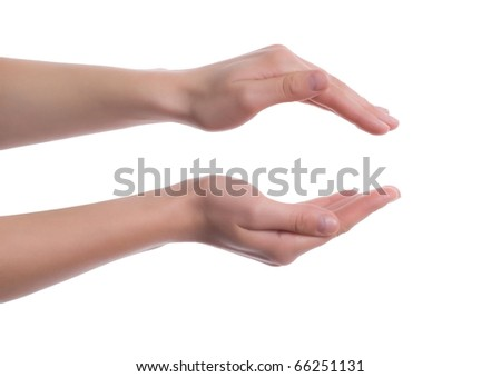 Female hands as if holding something - stock photo