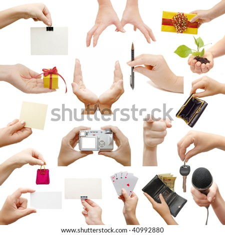 Female hands,collage, isolated on white background - stock photo