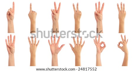 Female hands counting - stock photo