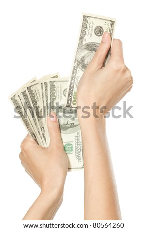 Female hands counting money, isolated on white background - stock photo