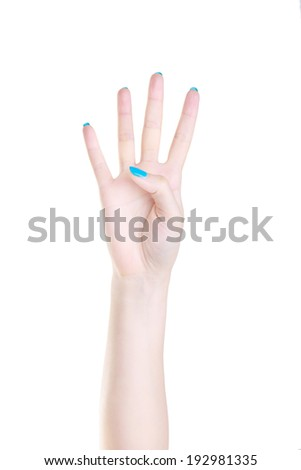 Female hands counting number four isolated on the white background - stock photo