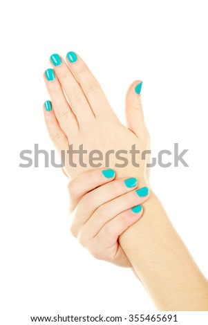 Female hands gestures on a white background