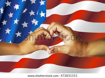 Female hands heart on American flag background. Mother and child made a heart with their hands. Unity, patriotism, support, family. Template.