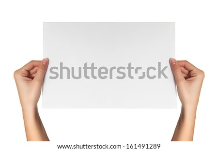 female hands hold white paper isolated - stock photo