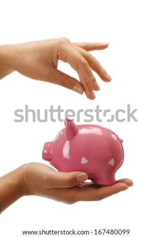 Female hands holding a piggybank empty space to insert a coin on white - stock photo