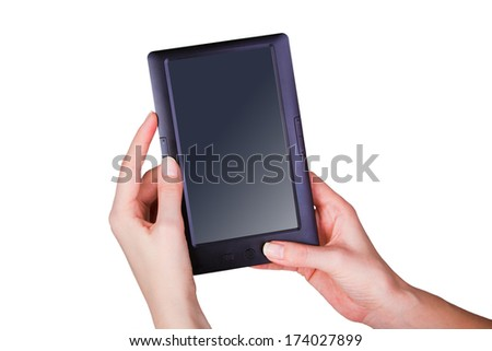 Female hands holding a tablet touch computer gadget - stock photo