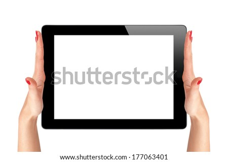 female hands holding a tablet touch computer gadget isolated on white background