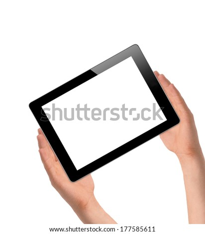 female hands holding a tablet touch computer gadget isolated on white background - stock photo