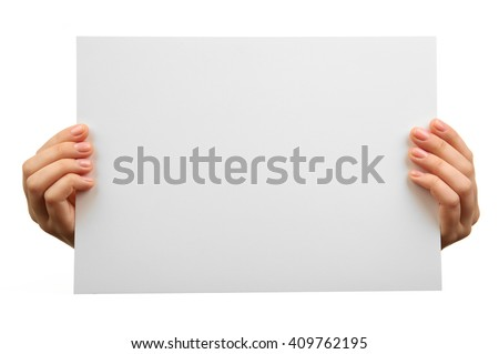 Female hands holding blank sheet of paper isolated on white - stock photo