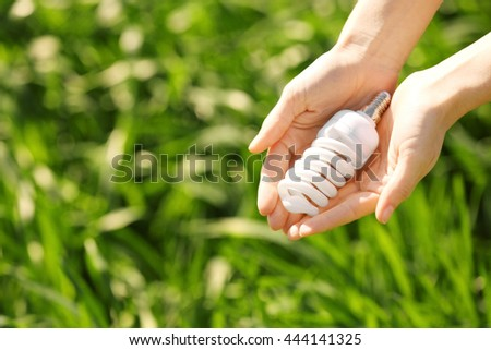 Female hands holding light bulb on the green background