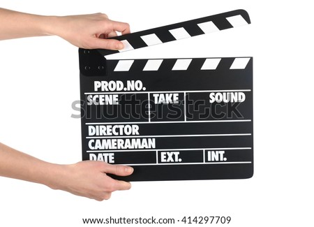 Female hands holding movie clapper isolated on white - stock photo