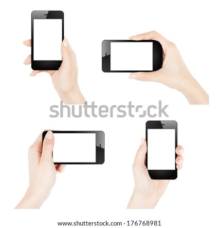 Female hands holding smartphone similar to iphone - stock photo