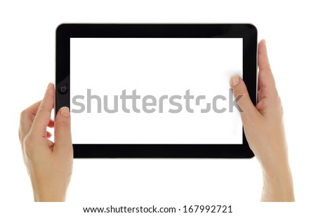 Female hands horizontally holding tablet with blank screen isolated