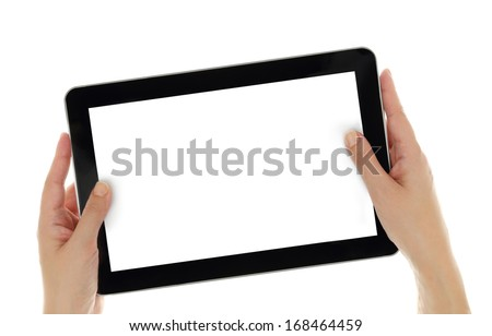 Female hands horizontally holding tablet with blank screen isolated - stock photo