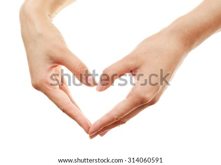 Female hands in form of heart isolated on white
