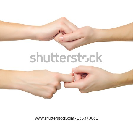 Female hands in shape of lock holding each other isolated on white background - stock photo