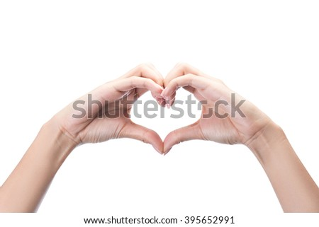 Female hands in the form of heart Isolated on white with clipping path included