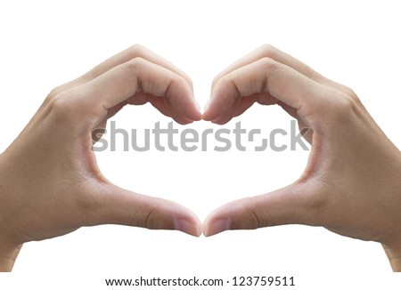 Female hands in the form of heart (with clipping path)