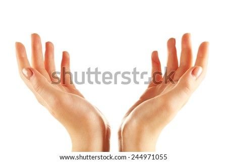 Female hands isolated on white - stock photo