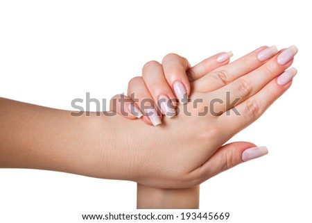 female hands isolated white background