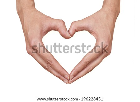 Female hands making a heart, can represent: health, love, caring or beauty - stock photo