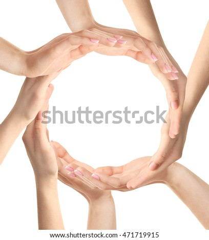 Female hands making circle on white background.
