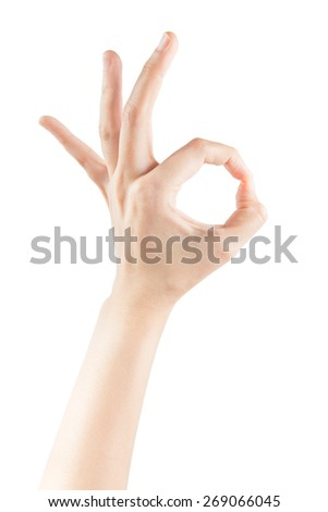 Female hands making sign OK isolated on white background with clipping path - stock photo