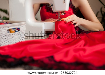 Female Hands On Sewing Machine Process Stock Photo Royalty Free Interesting Hands Free Sewing Machine