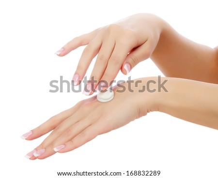 Female hands on white background - stock photo
