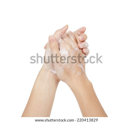 Female hands on white background