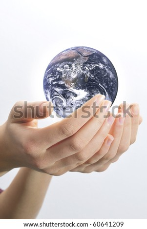 Female hands palms up on white background save the globe from falling. Globe image courtesy of NASA: http://visibleearth.nasa.gov - stock photo
