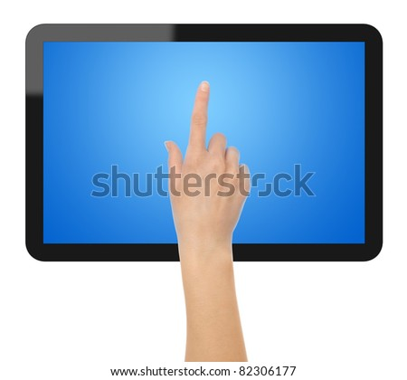 Female hands point on touch screen tablet. Include clipping path for hands, tablet and screen. - stock photo