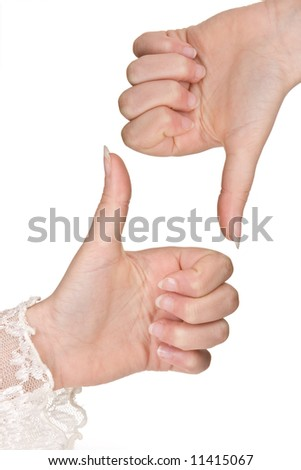 Female hands pointing up and down making a border or frame