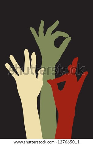 Female hands silhouettes expressing positivity, acceptance and clearance. Raster version. - stock photo