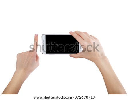 Female hands taking photo with smart phone of blank touch screen, front view, isolated on white.