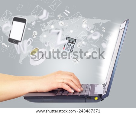 Female hands using laptop, side view. Smartphone, calculator and cup of coffee above, with envelope icons and random figures and symbols emanated by screen, on gray background with world map