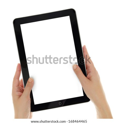 Female hands vertically holding tablet with blank screen isolated - stock photo